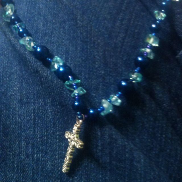 Blue cross necklace