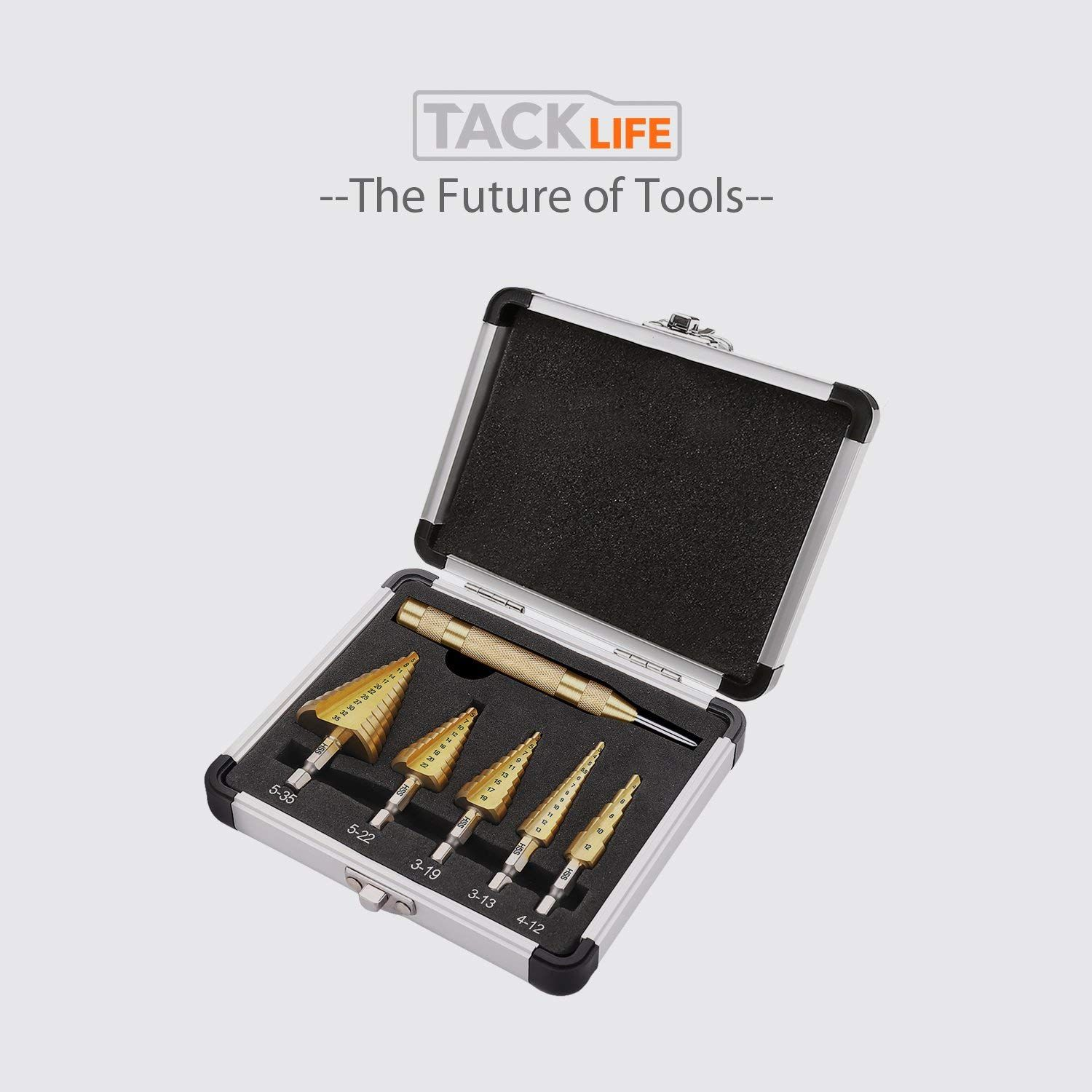 Tacklife Pdh06a Titanium Coated Hss Step Drill Bit Set With 127mm Automatic Center Punch Deal Price 13 99 Cod Drill Bit Sets Step Drill Step Drill Bits