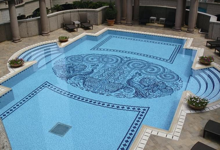 Swimming Pool Tile Design With Glass Mosaic