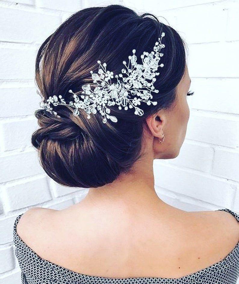 Pedazo de pelo nupcial de cristal Vid de pelo nupcial de oro rosa Accesorios para el cabello nupcial Accesorios para el cabello de boda de cristal Diadema nupcial de oro rosa  – Peinados