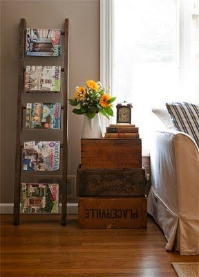 Not a Fan of the Ladder-Turned Magazine Rack, Simply B/c the Ladder-Turned  Blanket Holder is Just Soo Much More Cozy. But, Love this Layout: Upcycled  Ladder ...