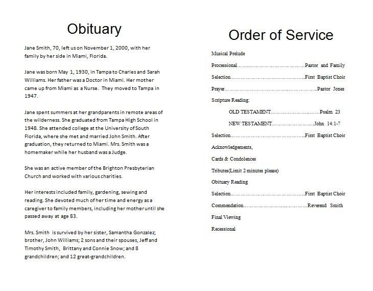 How To Write A Funeral Program Obituary Template With Images