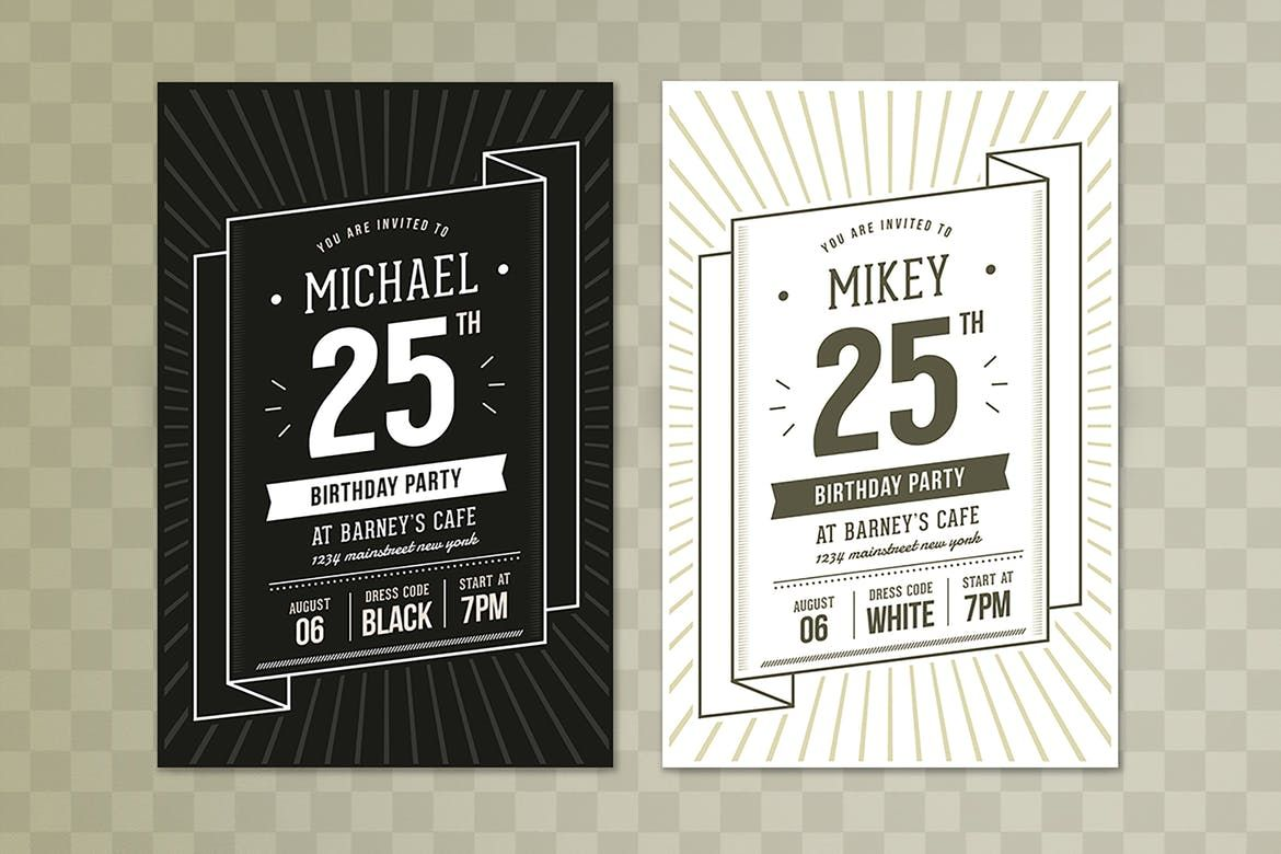 Vintage Birthday Party Invitation/Card. Perfect for your next