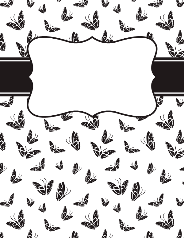 Free Printable Black And White Butterfly Binder Cover Template