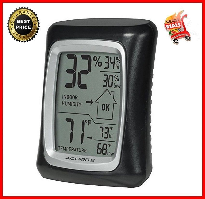Thermometer Weather Meters Humidity Temperature Black Home