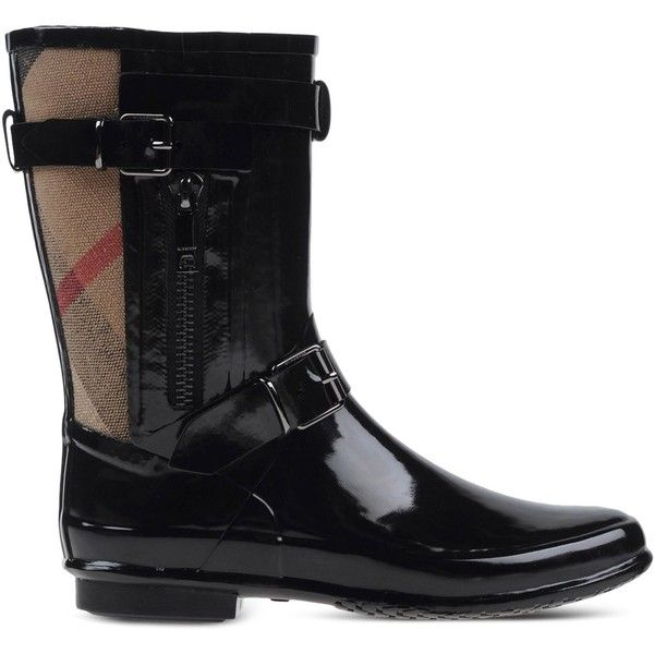 Burberry Rainboots & Wellies ($335) ❤ liked on Polyvore featuring shoes, boots, black, buckle boots, wellies boots, zipper boots, black wellington boots and black rain boots