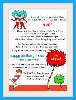 Cat In The Hat Themed 1st Birthday Invitations Dr Seuss 1st