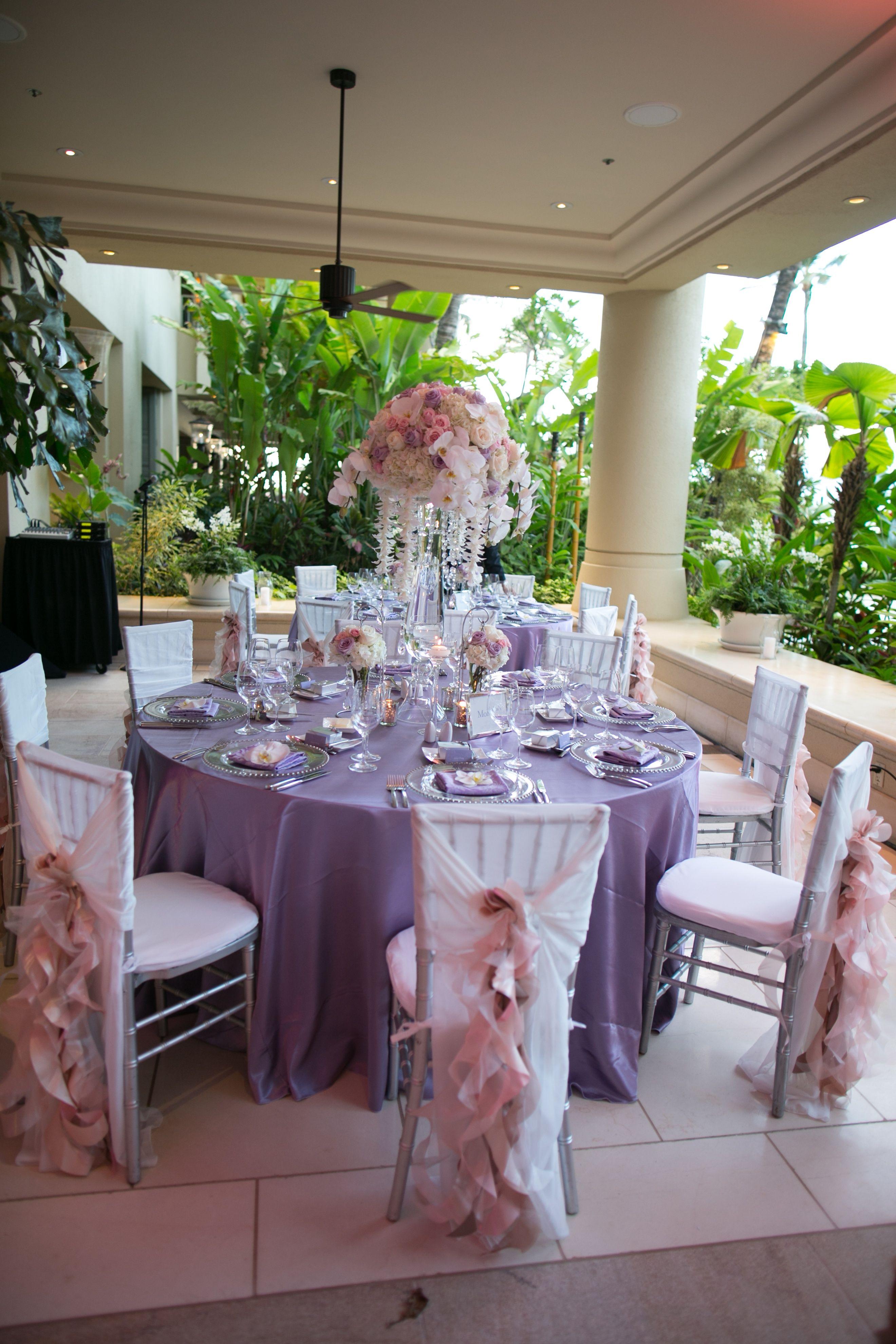 Draped Blush Reception Chairs | Joanna Tano Photography | Four Seasons Resort Maui at Wailea | Theknot.com
