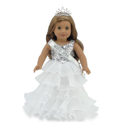 Emily Rose 18 Inch Doll Clothes | Ball Gown Pageant Doll Dress with Miss USA-Inspired Sash and Sparkling Crown! | Fits American Girl Dolls - Walmart.com #18inchdollsandclothes