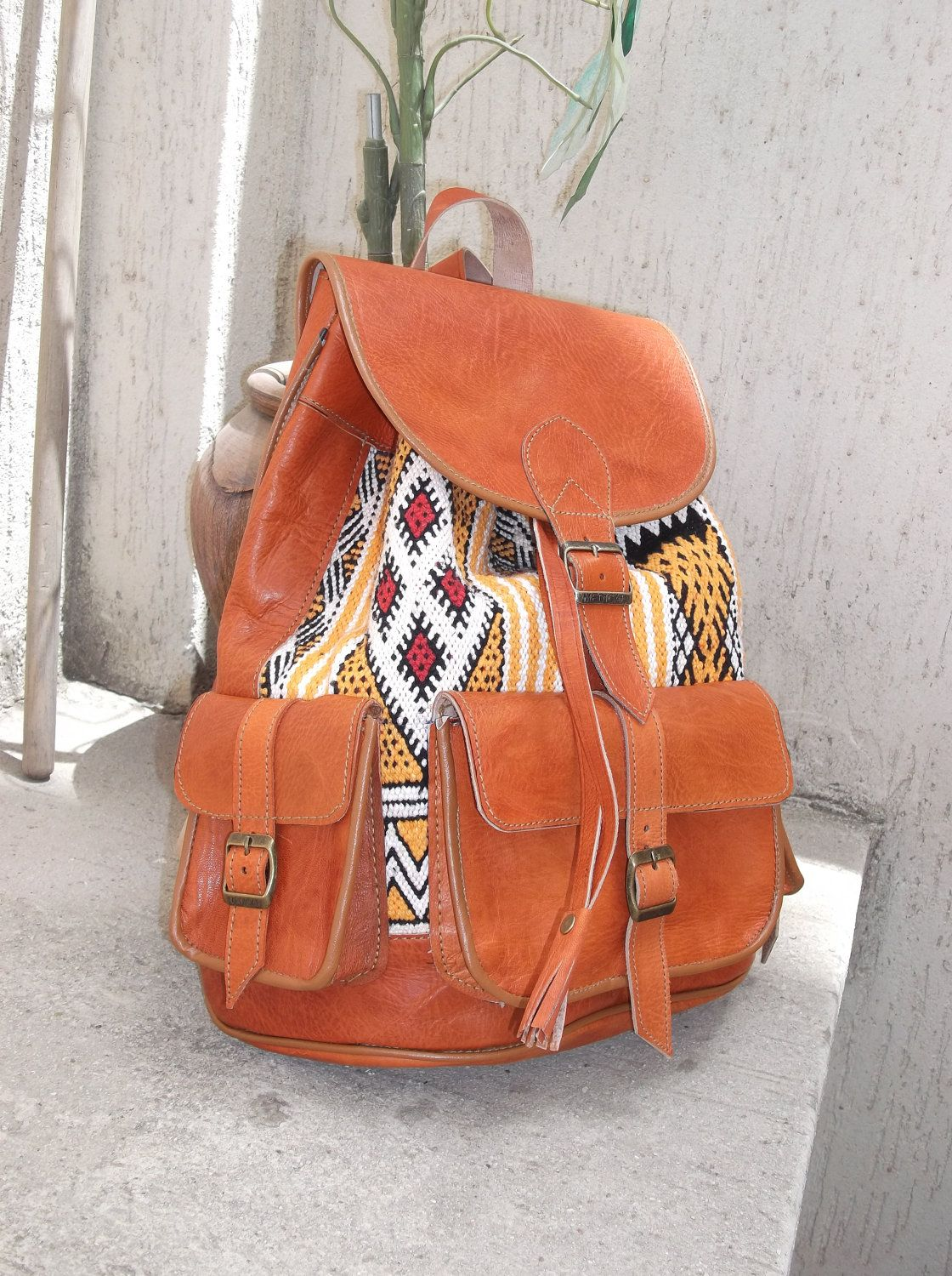 fb179c4052 Moroccan Leather kilim Backpack Rucksack back bag soulder vintage purse  travel kilim bag shoulder women men bag.  79.99