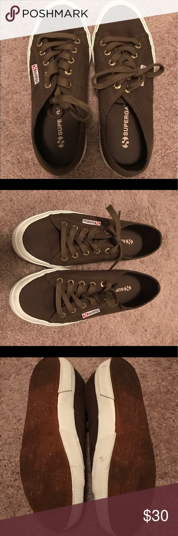 """Green Superga shoes Excellent condition- I only wore them once. Color is called """"military"""". Superga Shoes Sneakers"""
