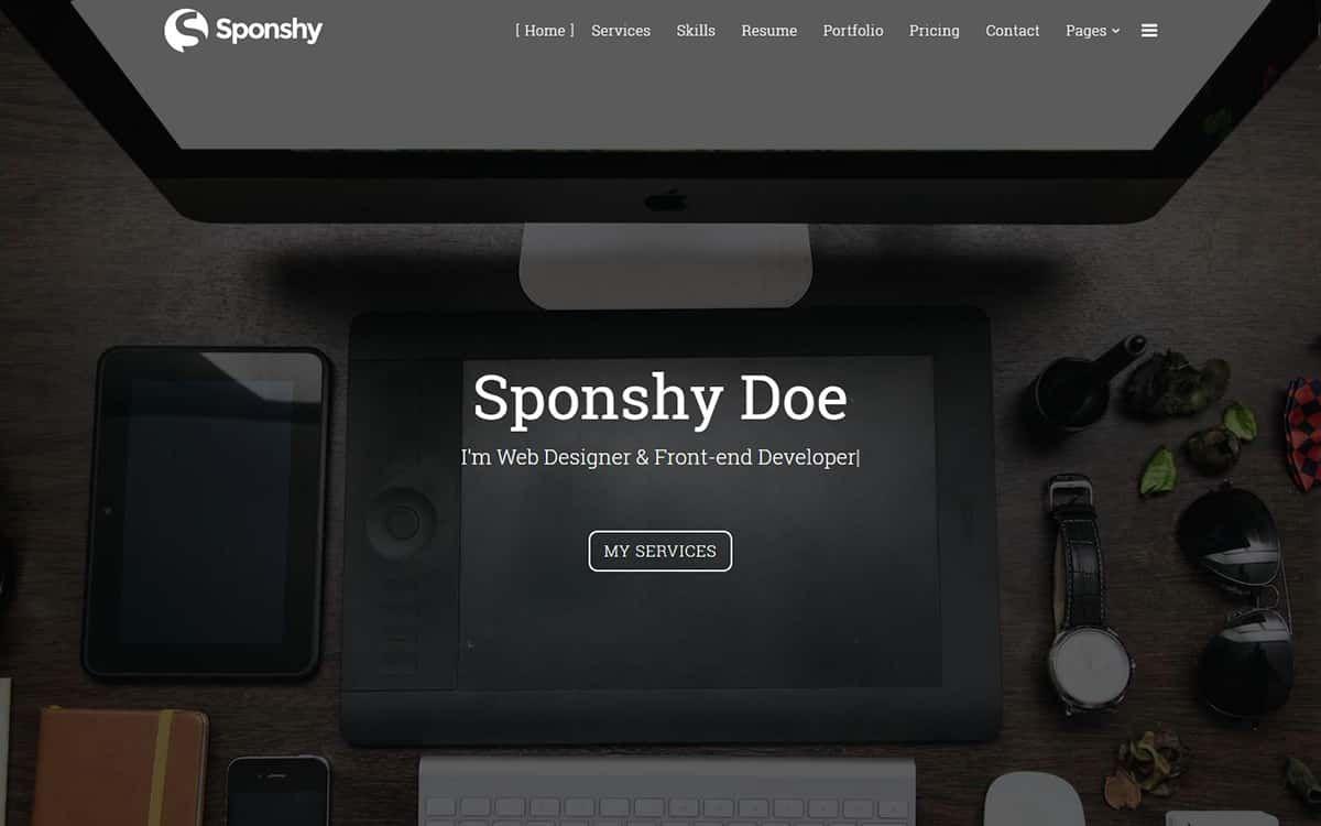 Sponshy – Responsive HTML5 / CSS3 Resume CV Landing Page Template ...