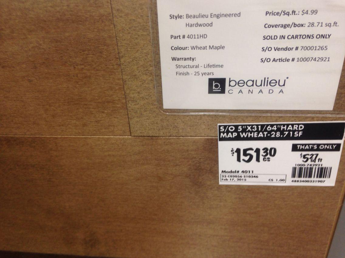 Home Depot $4.99 Engineered Maple