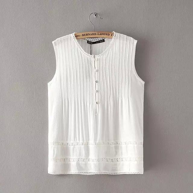 Women's Summer sweet white lace blouses pleated O neck sleeveless shirts casual slim brand tops WT95-in Blouses & Shirts from Women's Clothing & Accessories on Aliexpress.com   Alibaba Group