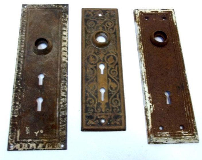 Lot Of Three Non Matching Cast Metal Door Knob Back Plates Antique  BackPlates Brass Metal Eastlake