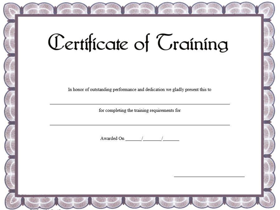 Training Certificate Template Training Certificate Certificate