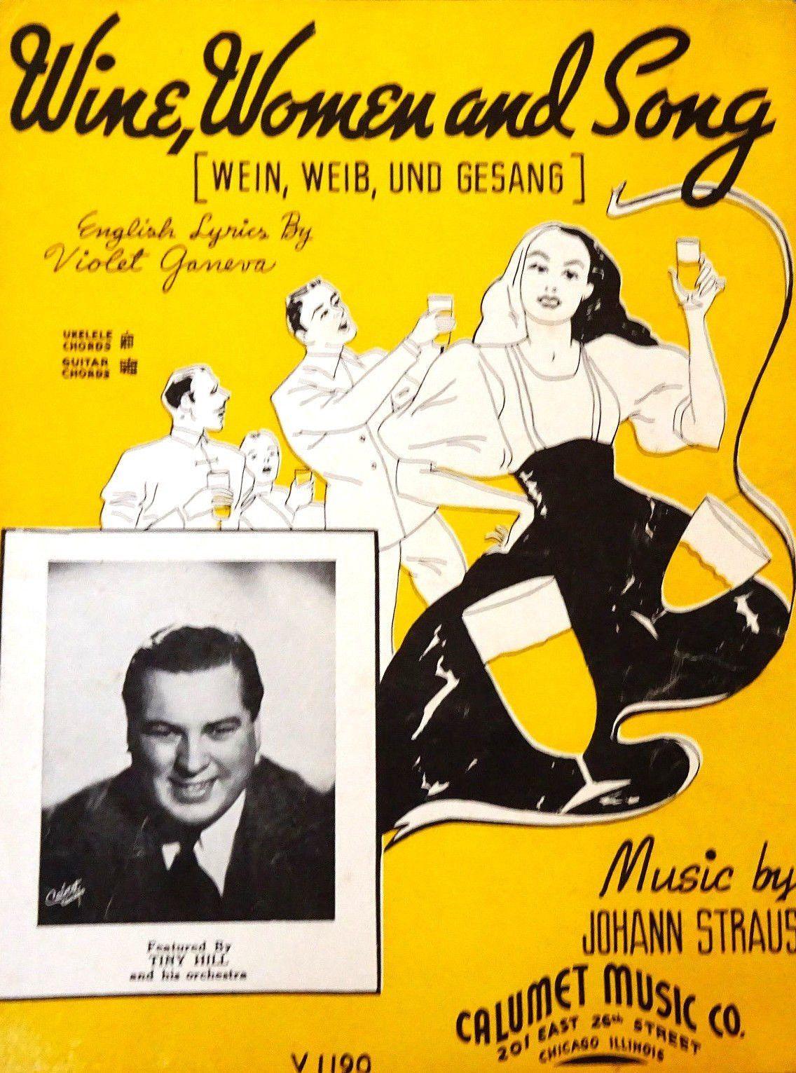 Wine Women And Song Waltz Johann Strauss Vintage 1930s Sheet Etsy Songs Vintage Sheet Music Waltz