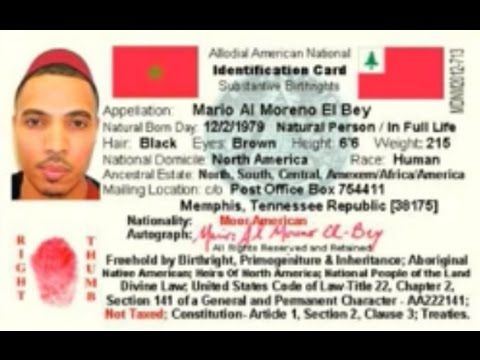 Moors  Indigenous Nationality Identification Card  Through