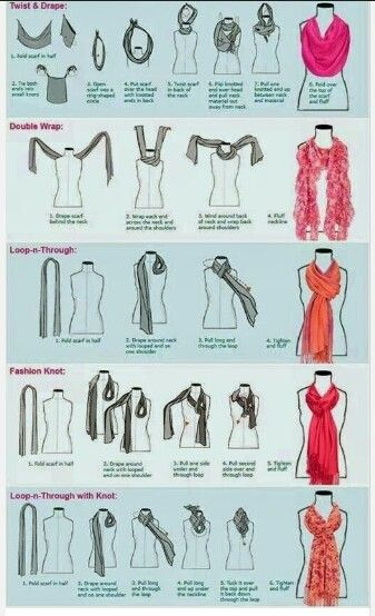 how to tie a scarf diagram scarves and clothes rh pinterest com