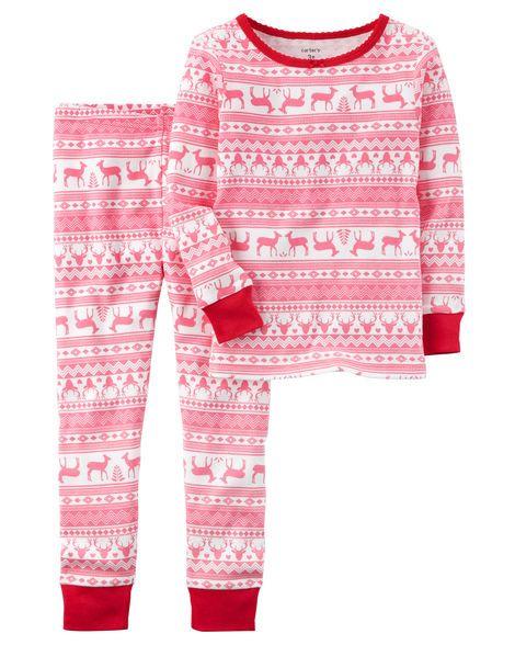 Piece Fair Isle Snug Fit Cotton PJs