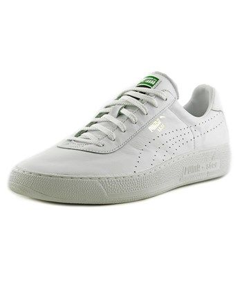 PUMA PUMA STAR PERFORATED ATHLETIC LOW TOP MEN ROUND TOE LEATHER WHITE  SNEAKERS. #puma