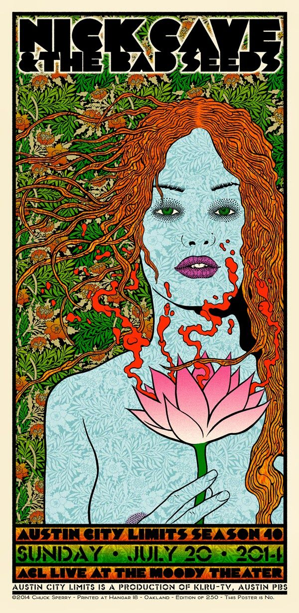 I LOVE PSYCHEDELIC GIG POSTERS - San Francisco-based artist Chuck Sperry is an adept of design and hand screen printing of rock poster art. Dominating the gig poster scene for well over a decade, Sperry has driven the American rock poster art genre to a new dimension. Influenced by psychedelic Art Nouveau style