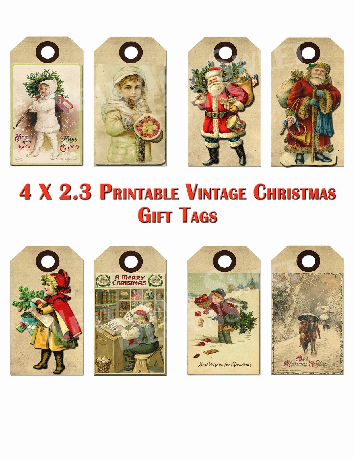 Free Printable Vintage Christmas Tags