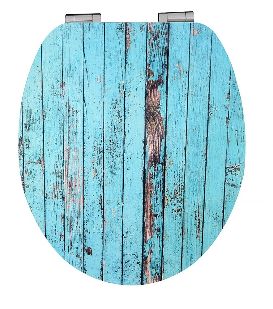 Toilet Seat Wood Effect Soft Close Rustic Gloss Blue