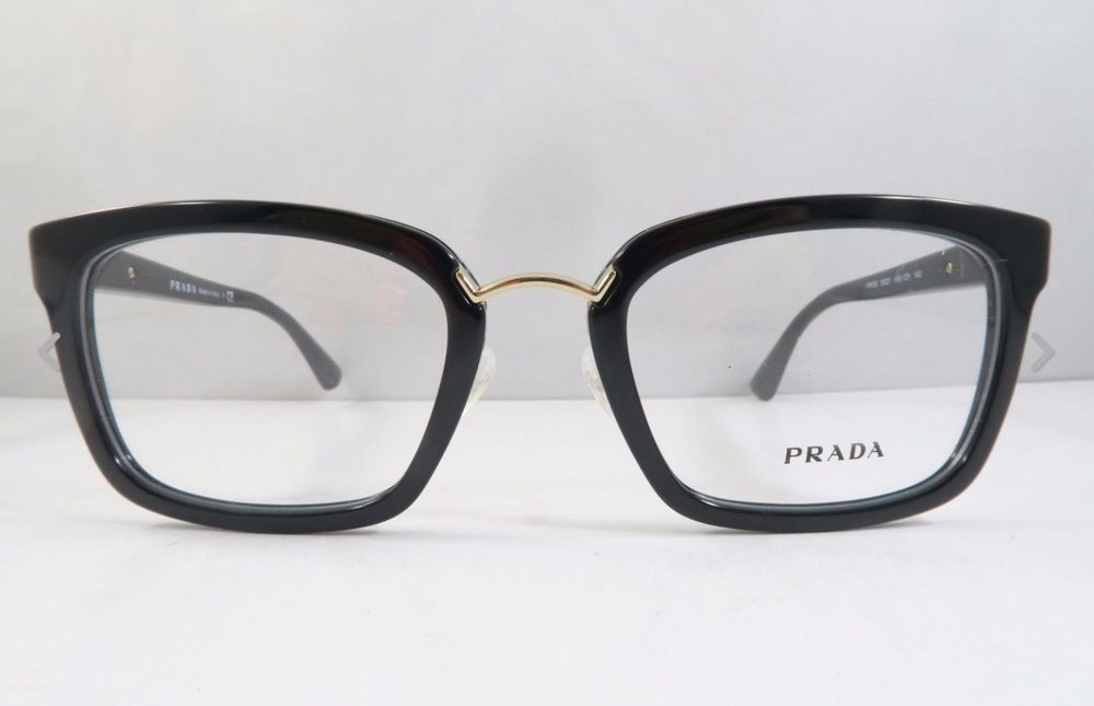 68dc969e953f New Authentic Prada VPR 09S 1AB 1O1 eyeglasses 51-21-140 Black gold w case   PRADA