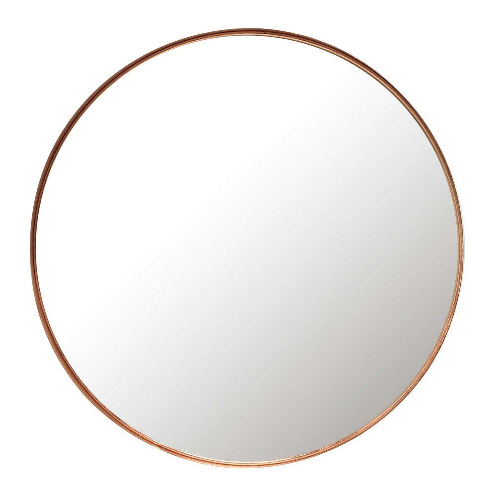 Spiegel mit Rahmen aus verkupfertem Metall, D 55 cm | Maisons du ...