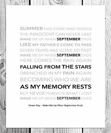 Here Comes The Rain Again Falling From The Stars Funky Art Prints Green Day Wake Me Up When September Ends Funky Lyric Art Print A4 Size When Listening To Green Day Quotes When September Ends Funky Art