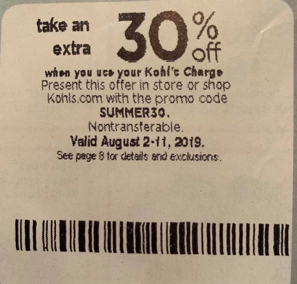 Kohls 30 Off Coupon Code In Store And Online August 2019 Kohls Coupons Kohls Printable Coupons Printable Coupons