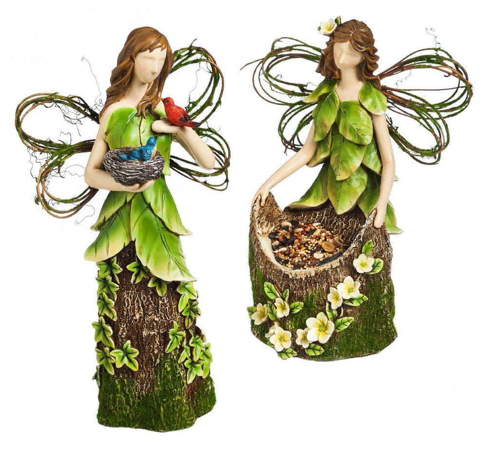 2 Piece Moss Angel Statue Set
