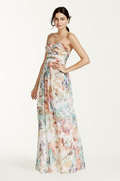 Strapless printed chiffon dress 141704950 fashion for Print maxi dress for wedding