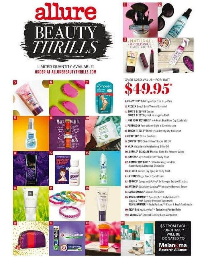 Spring 2016 Allure Beauty Thrills Box Full Spoilers Hello Subscription Allure Beauty Allure Beauty Box Beauty