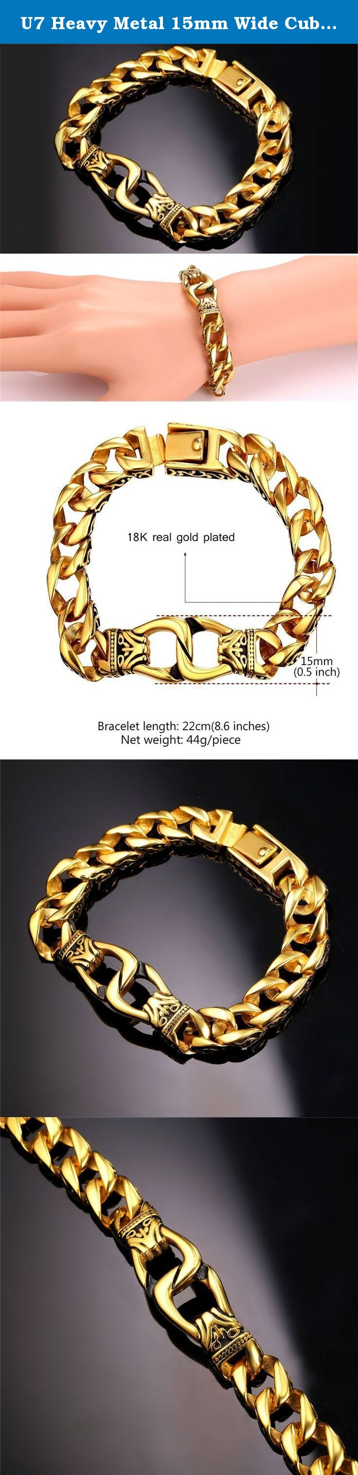 U heavy metal mm wide cuban chain bracelet menus k gold plated