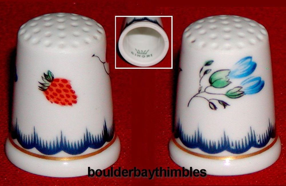 Strawberries with Free Gift Box Porcelain China Collectable Thimble