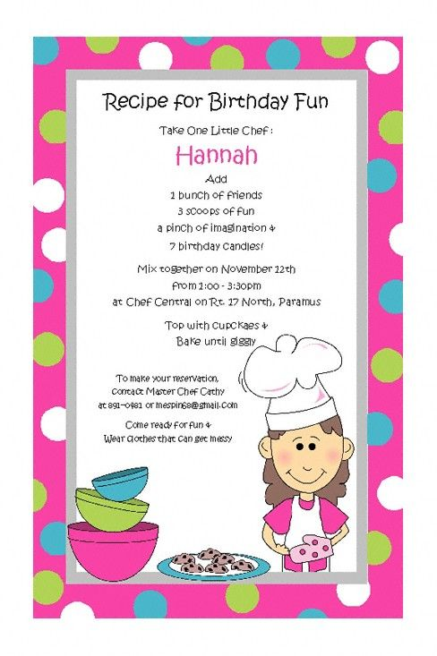 Baking Girl Invitations for Childrens Cooking Birthday Party Top – Kids Cooking Party Invitations