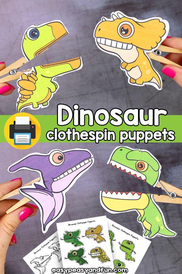 Printable Dinosaur Clothespin Puppets - Printable Dinosaur Craft for Kids #dinosaur