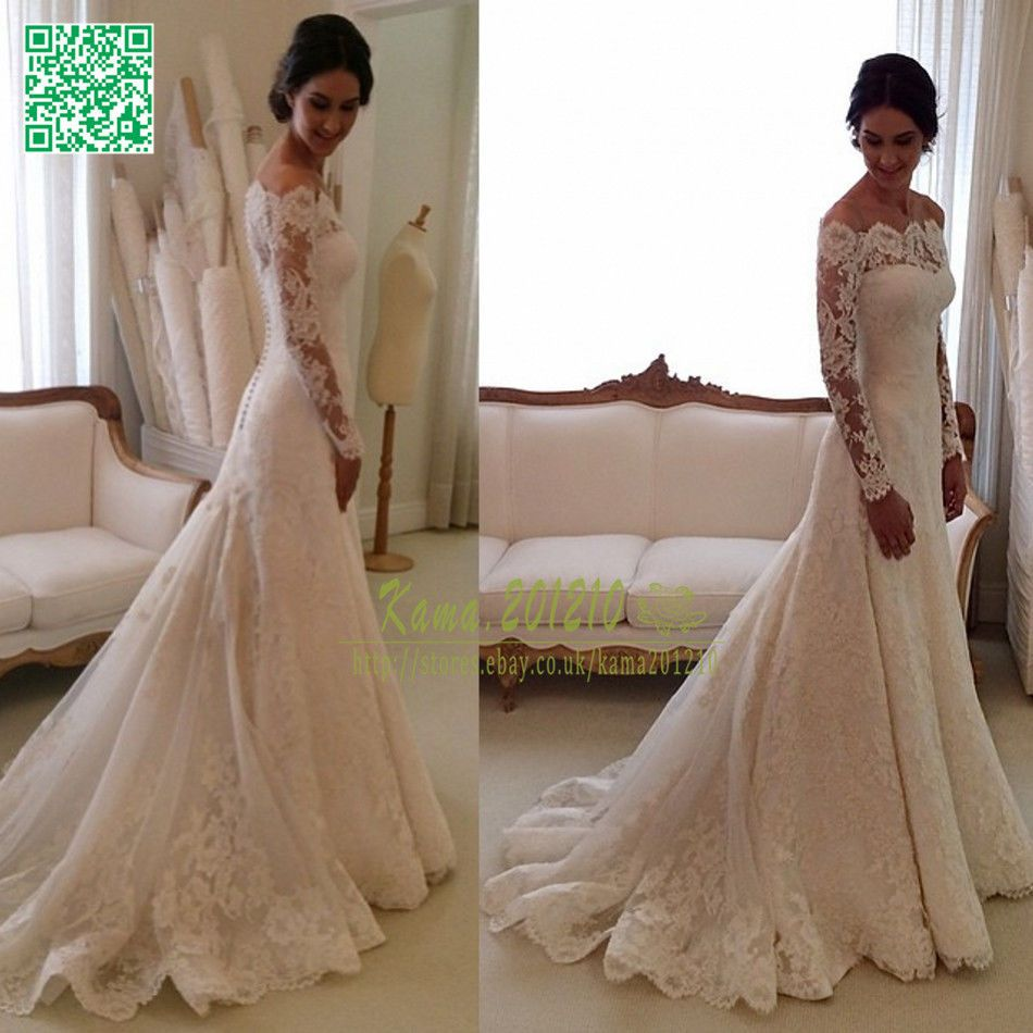 Elegant Lace Wedding Dresses White Ivory Off The Shoulder Garden Bride Gown 2015 Wedding Dress Long Sleeve Wedding Dresses Lace Bride Gowns