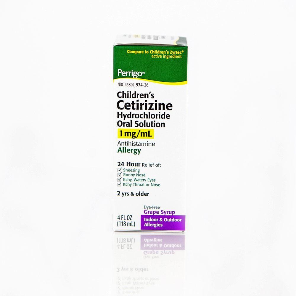 Perrigo Children's Cetirizine Hydrochloride Oral Syrup, Grape Flavor