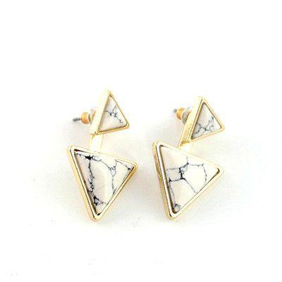 Natural Stone Triangel Earrings