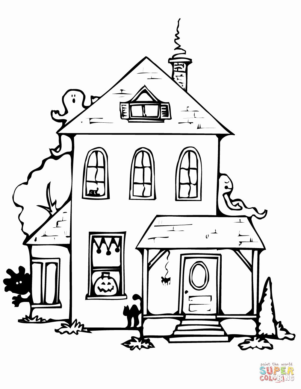 Haunted House Coloring Page Luxury Haunted House Coloring Page House Colouring Pages Easy Haunted House Spooky House
