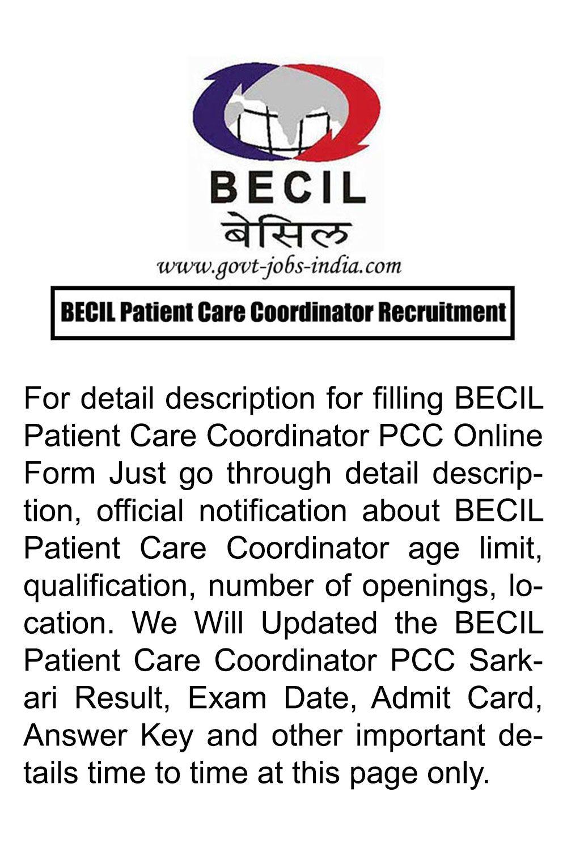 BECIL Patient Care Coordinator Recruitment in 2020