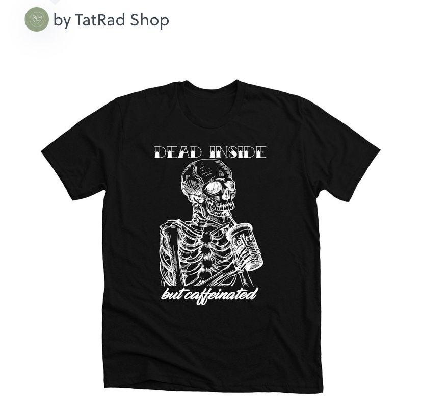 Black tee perfect for October vibes! #diy #aesthetic #tiktok #skeleton #deadinside #meme #funny #shop #smallbusiness #october #fall #fallfashion #icedcoffee #starbucks #skeletons