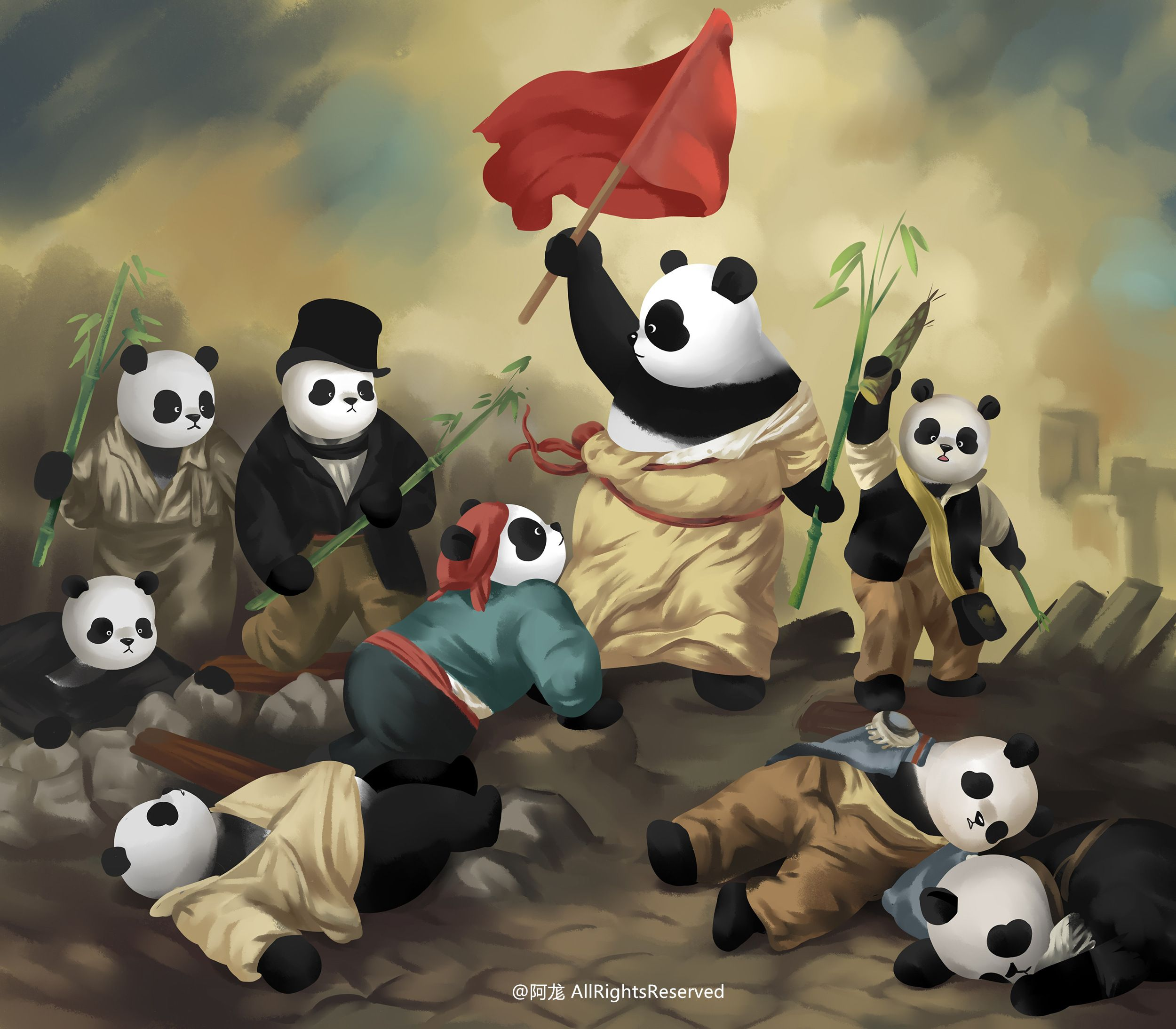 Bamboo Leading The Pandas The Original Painting Liberty Leading