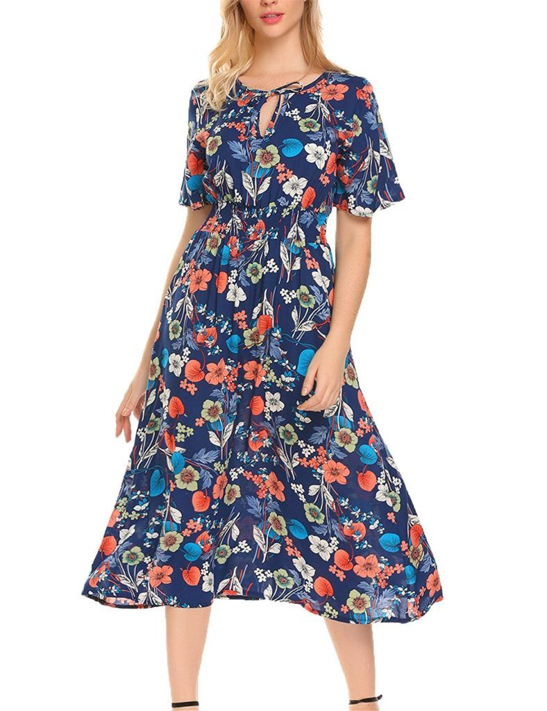 Funpor Women S Floral Summer Dress Short Sleeve A Line Flare Casual Midi Dress Shop2online Best Woman S Fashion Products Designed To Provide Womens Floral Summer Dress Midi Dress Casual Short Summer Dresses [ 1024 x 788 Pixel ]