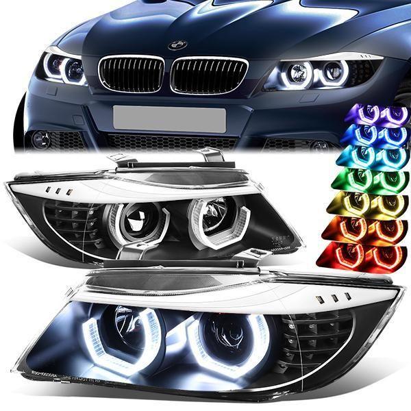 06 08 Bmw E90 323i 325xi 325i 328i 328xi 330i 7 Colors Led U Halo Projector Headlights Black Bmw Projector Headlights Headlights