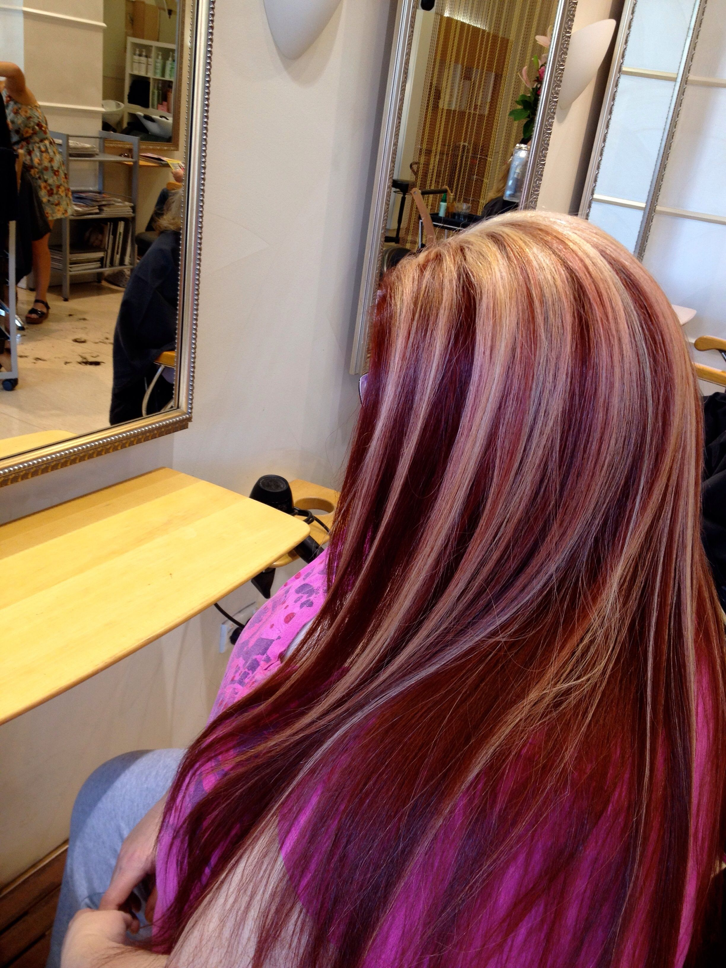 Blonde highlights ideas pinterest - Red Hair With Blonde Highlights Love