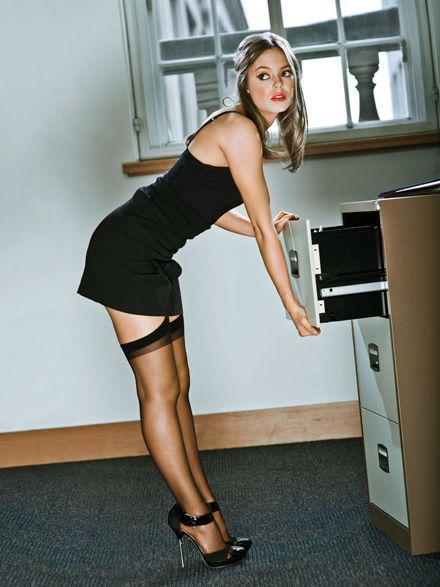 Blonde woman in skirt voyeur